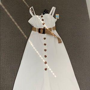 Forever 21 white Lenin dress xs